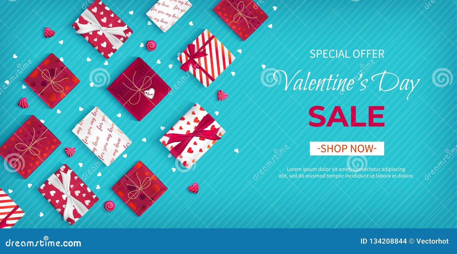 Продажа дня Валентайн особенного предложения Рогулька скидки, большая сезонная продажа Горизонтальное знамя сети с много коробок