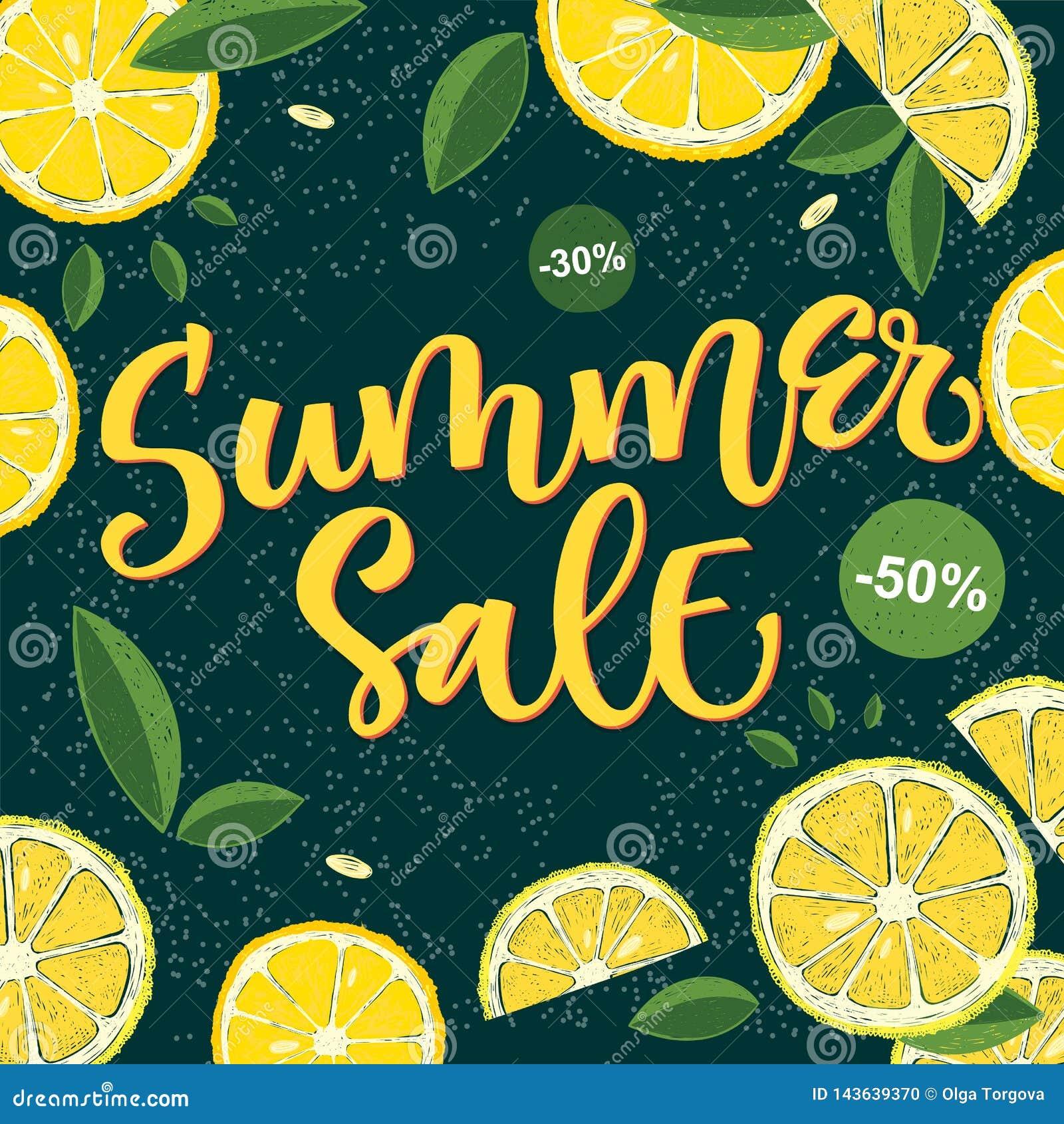 Продажа лета - дизайн каллиграфии яркий красочный с флористическими элементами