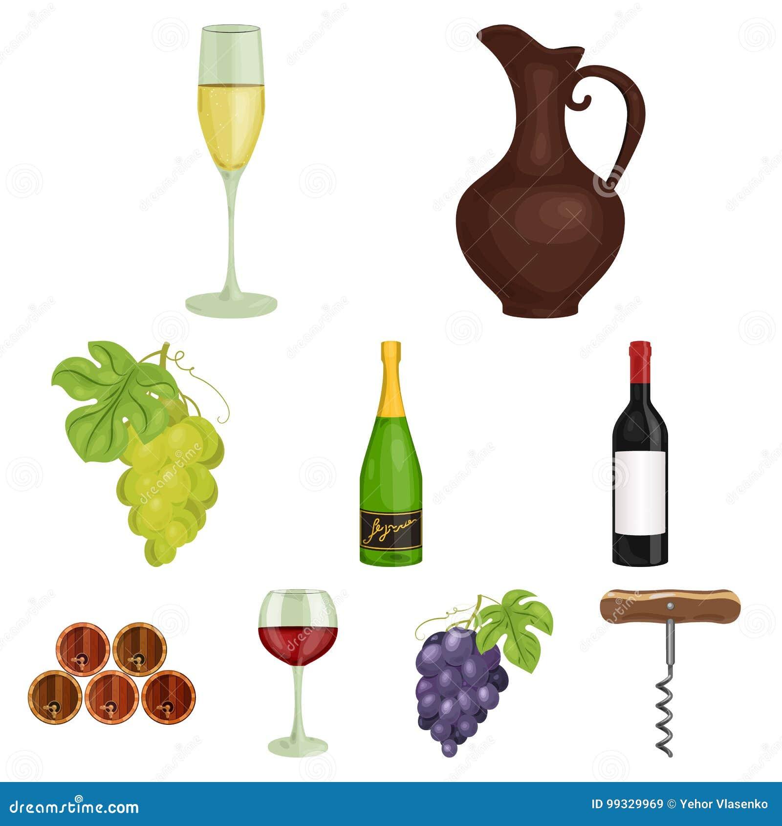 Продукты вина Растущие виноградины, вино Значок продукции лозы в собрании комплекта на запасе символа вектора стиля шаржа