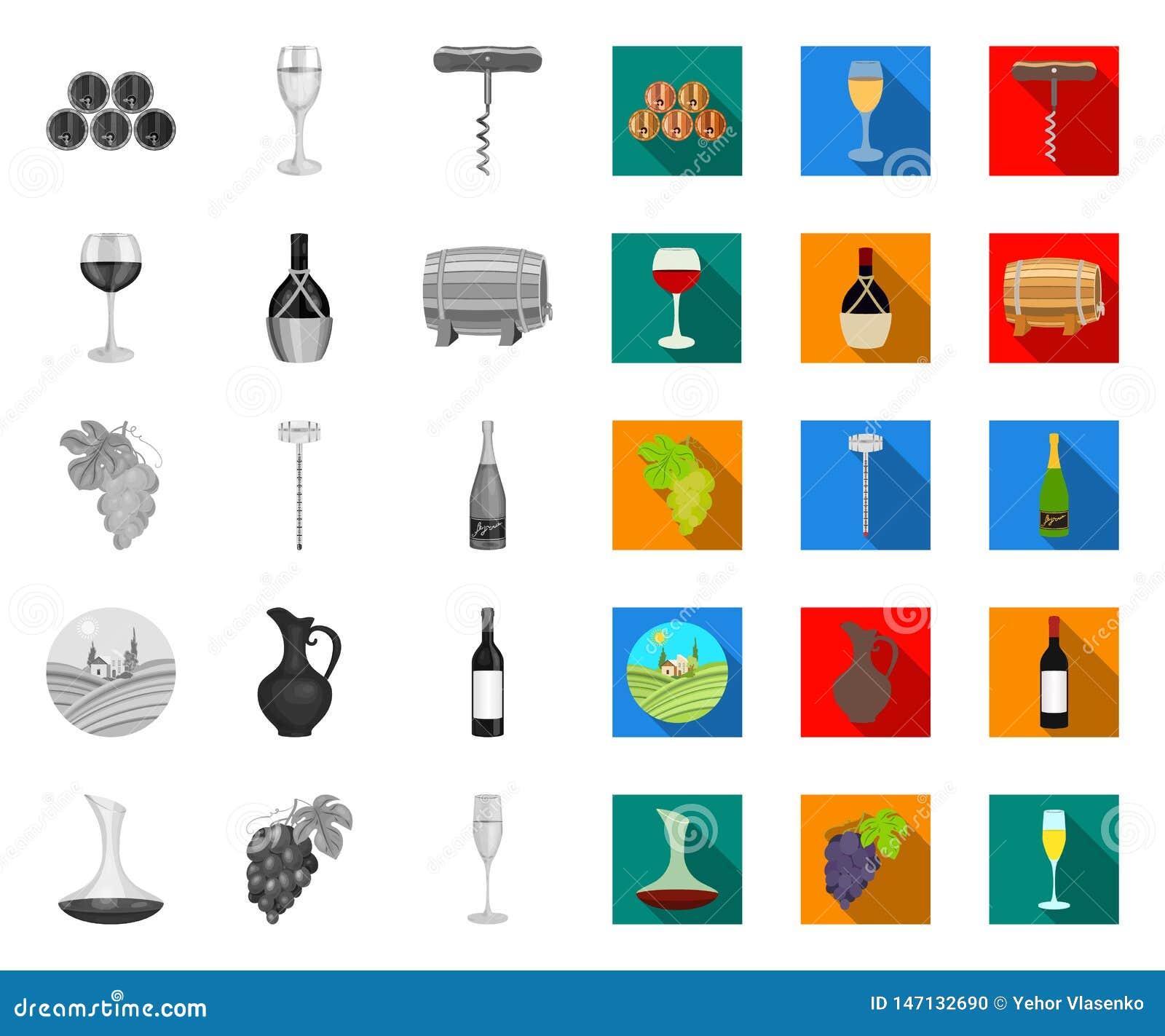 Продукты вина mono, плоские значки в установленном собрании для дизайна Оборудование и продукция сети запаса символа вектора вина