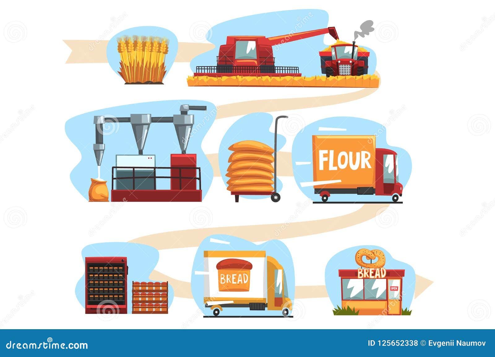 Продукция хлеба от сбора пшеницы к к свеже испеченному хлебу в комплекте магазина иллюстраций вектора шаржа