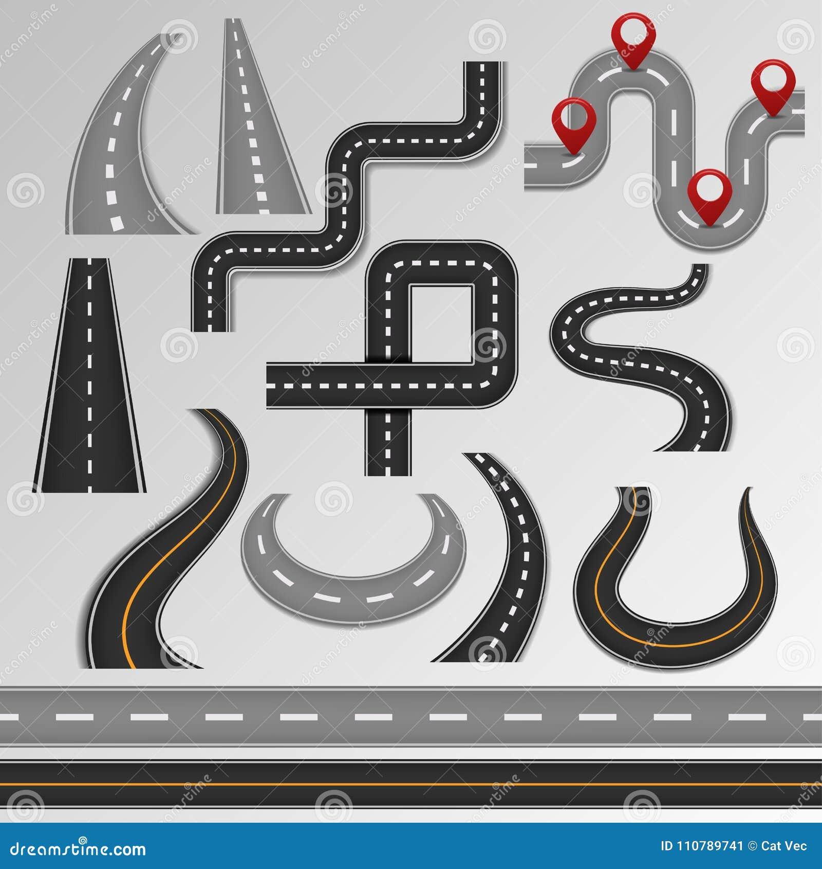 Проезжая часть и шоссе вектора дороги на карте с комплектом иллюстрации пути трассы обочины или перекрестка в тропе изолированной