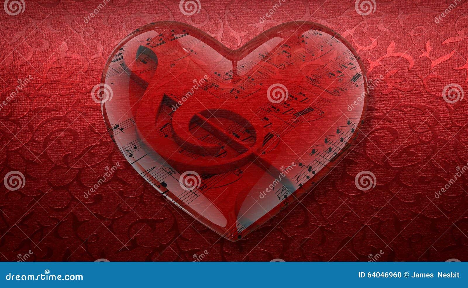 Прозрачное сердце с дискантовым ключом и нотами на красной предпосылке