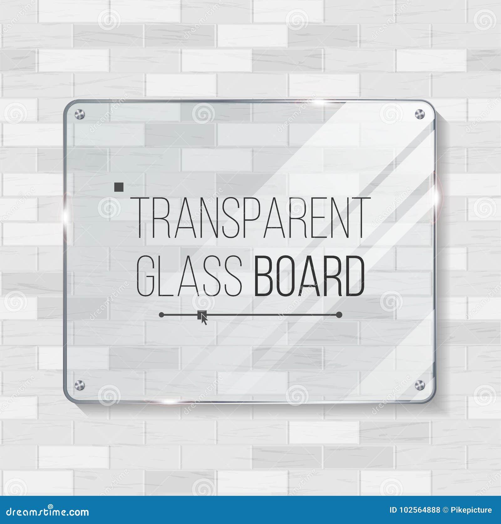 Прозрачный стеклянный вектор доски Декоративный элемент графического дизайна Пластичный или стеклянный шаблон рамки иллюстрация