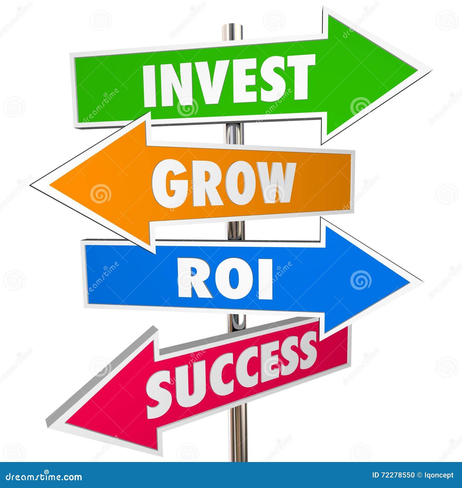 Download Проинвестируйте вырастите дорожные знаки стрелки успеха ROI Иллюстрация штока - иллюстрации насчитывающей управление, деньги: 72278550