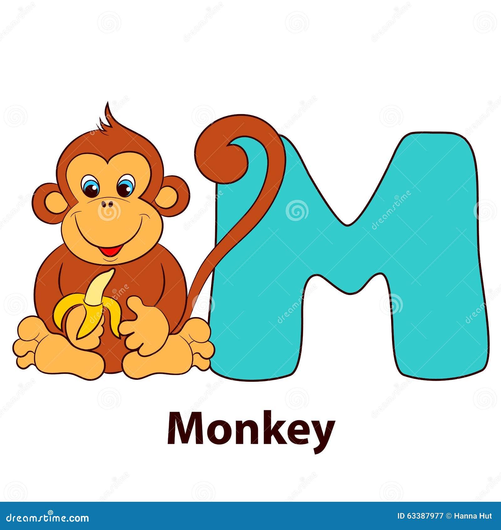 Проиллюстрированное письмо m алфавита и обезьяна