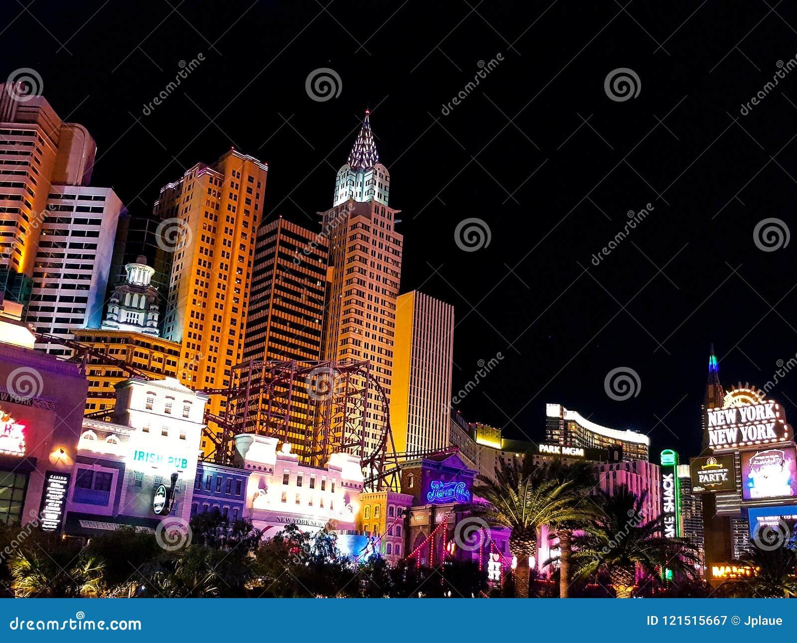 Прокладка гостиницы казино в Лас-Вегас на ноче