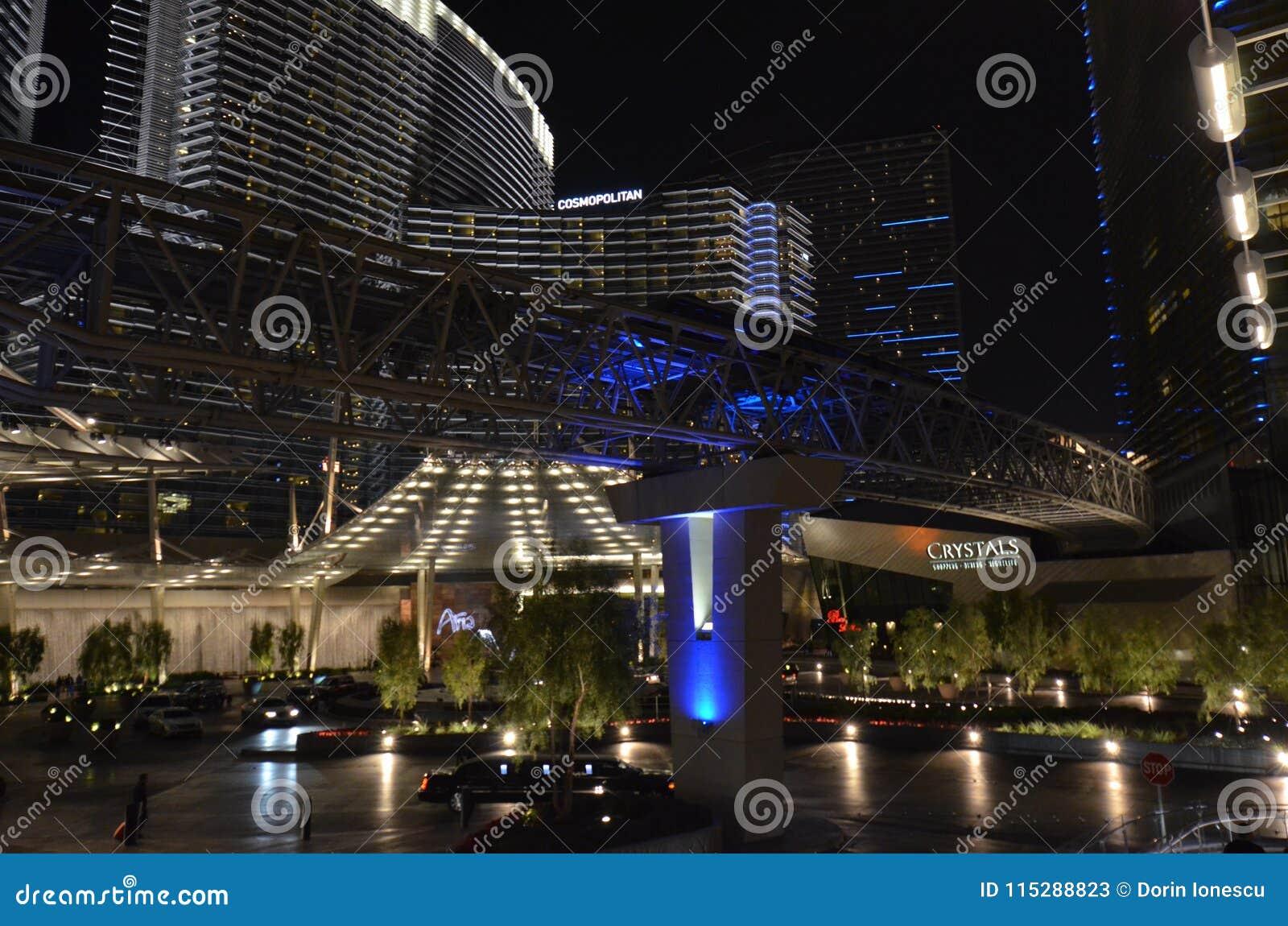 Прокладка Лас-Вегас, район метрополитена, метрополия, ноча, город