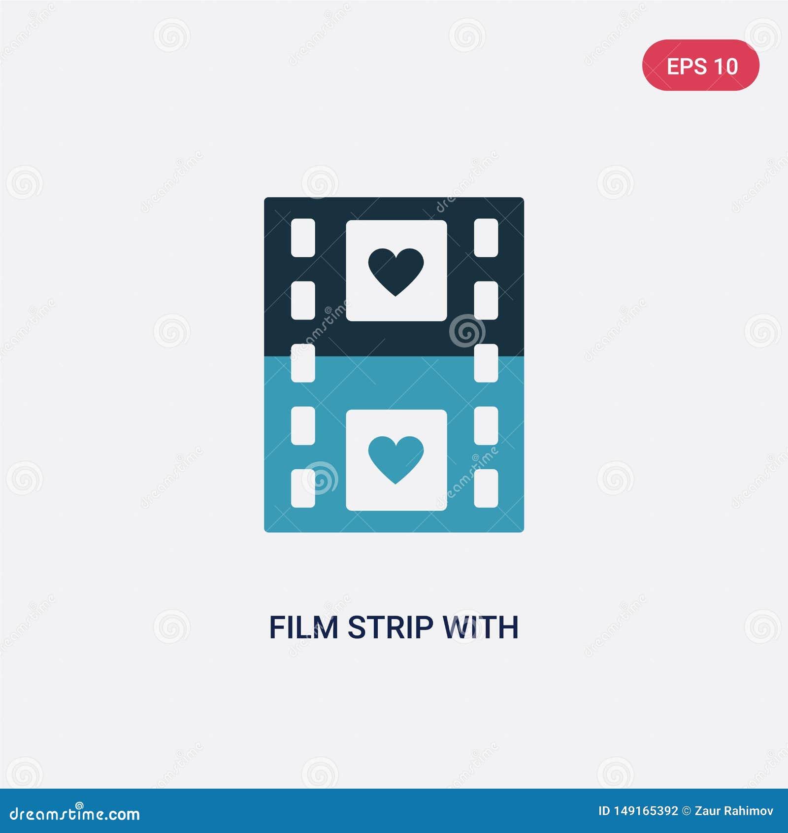 Прокладка 2 цветных пленок со значком вектора сердца от концепции форм изолированная голубая прокладка фильма с символом знака ве