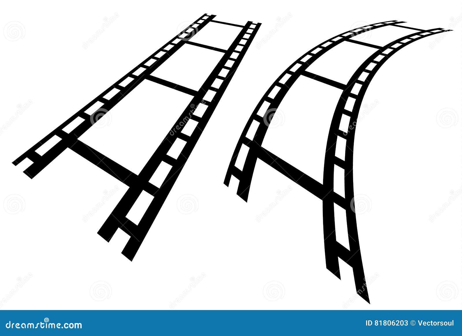 Прокладки фильма в перспективе Прямо и передернутое filmstrip