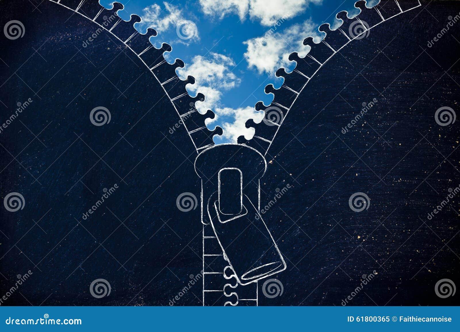 Промелькните раскрывать вверх на голубом небе, метафоре оптимизма