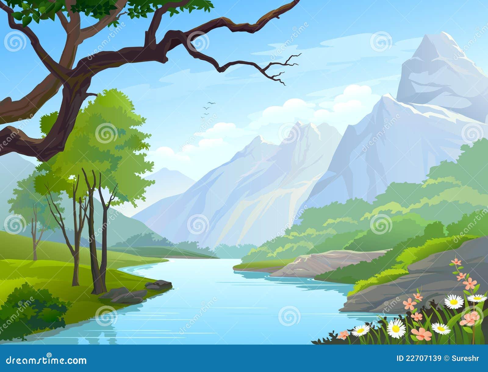 Рисунки гор и речек
