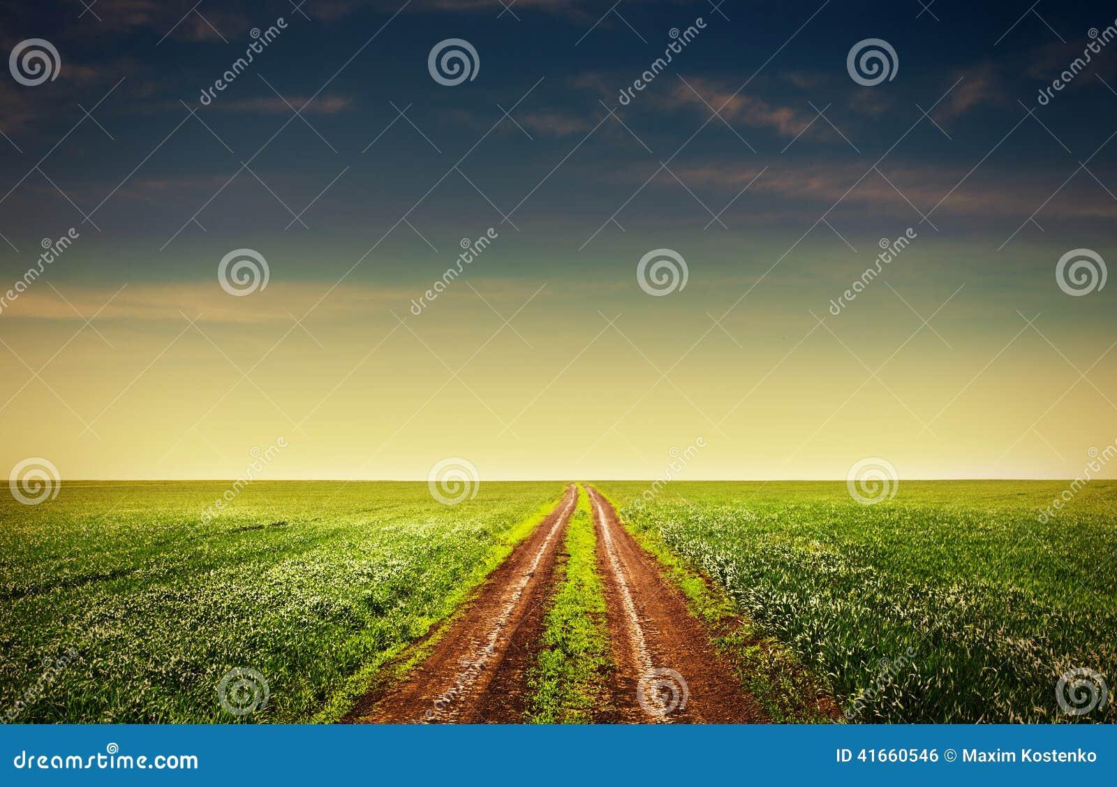 Проселочная дорога через поля
