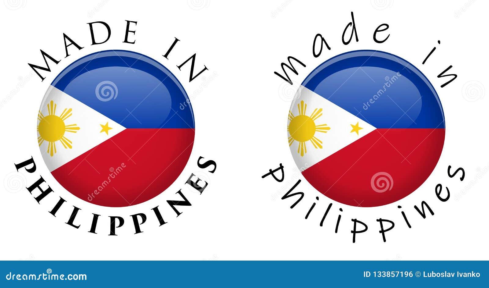 Простая сделанная в знаке кнопки Филиппин 3D Текст вокруг wi круга