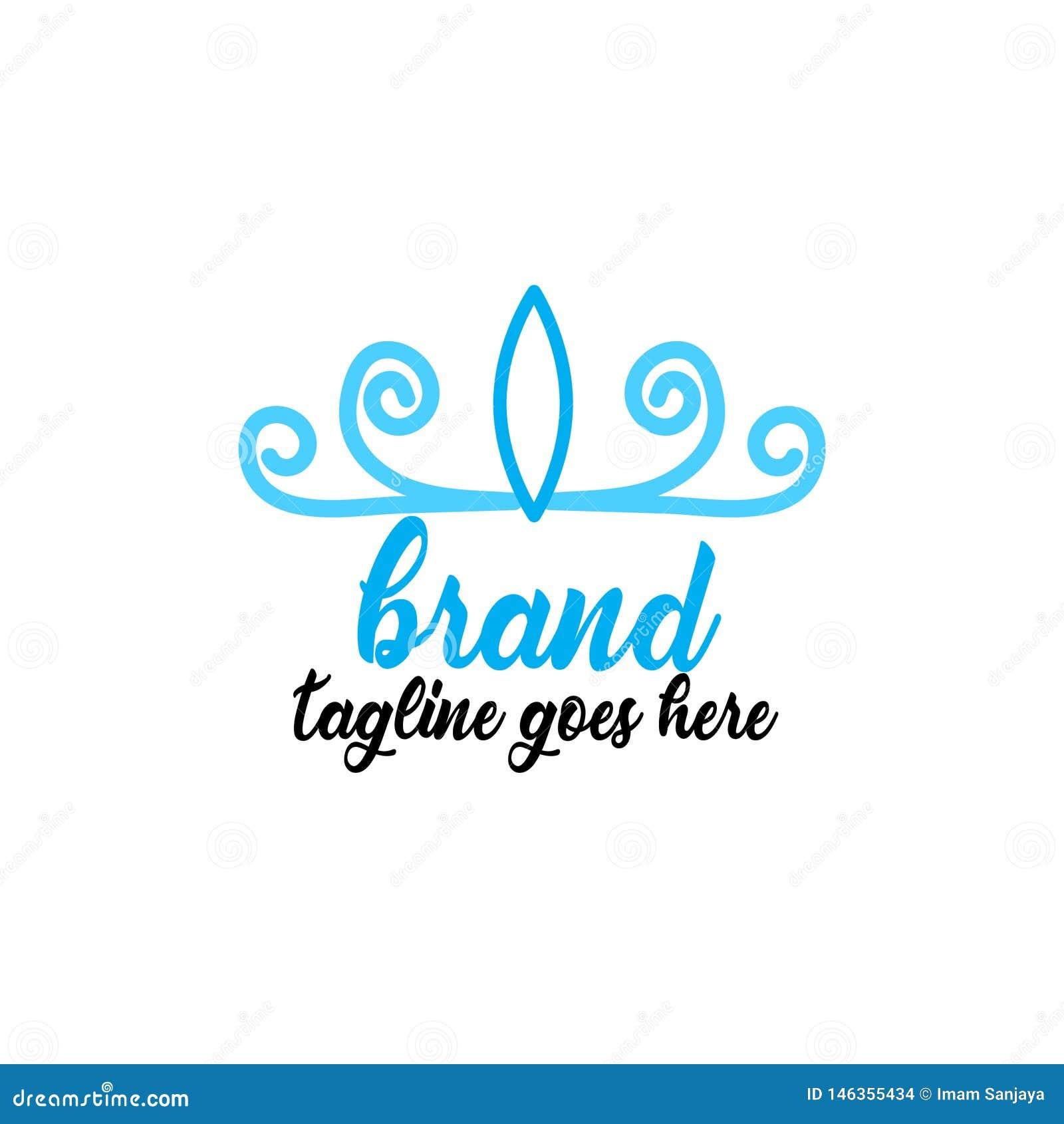 Простой и привлекательный голубой логотип кроны