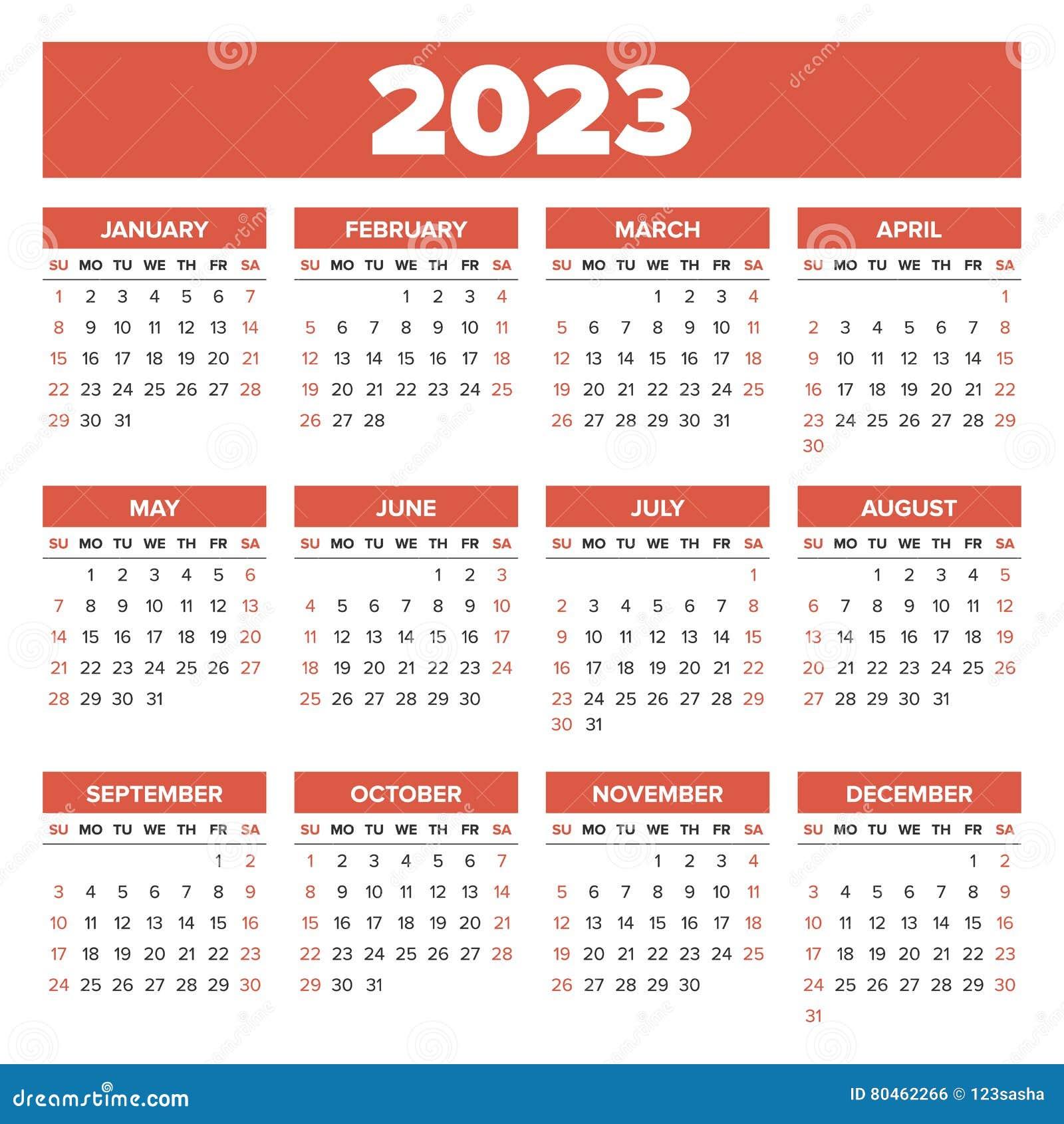Простой календарь 2023 год