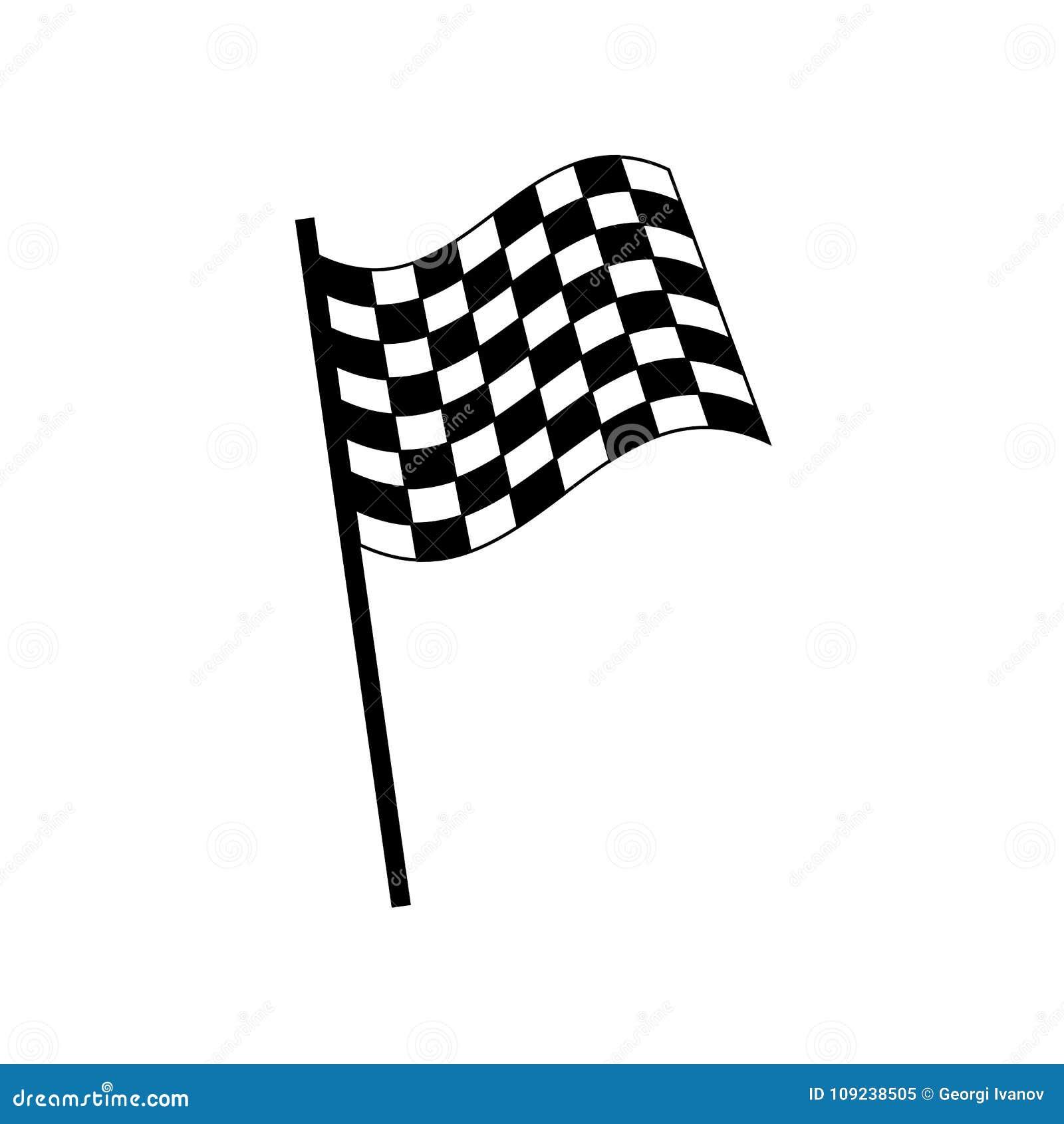 Простой, плоский черно-белый флаг гонок