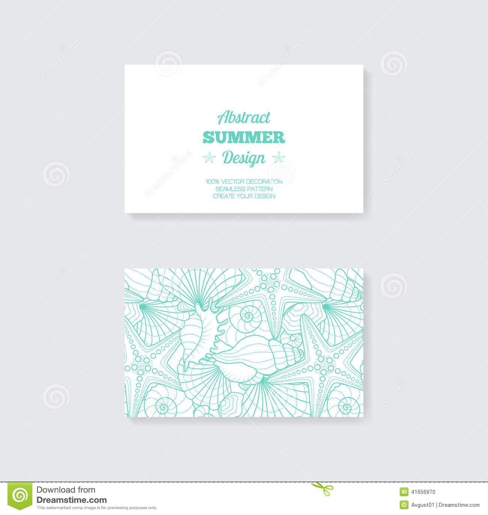 Простой шаблон визитной карточки с декоративным orna