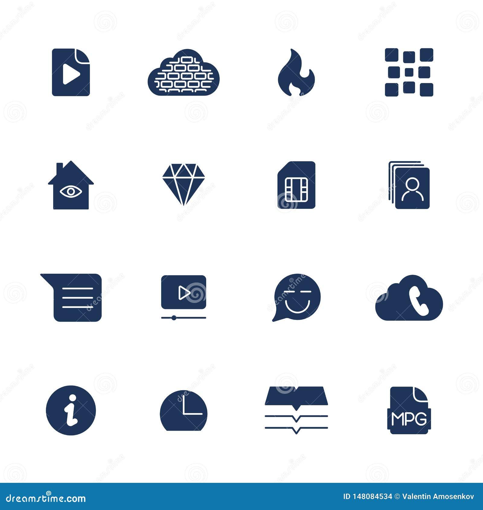 Простые значки для приложения, места UI, программы Различные значки UI Простые пиктограммы на белой предпосылке
