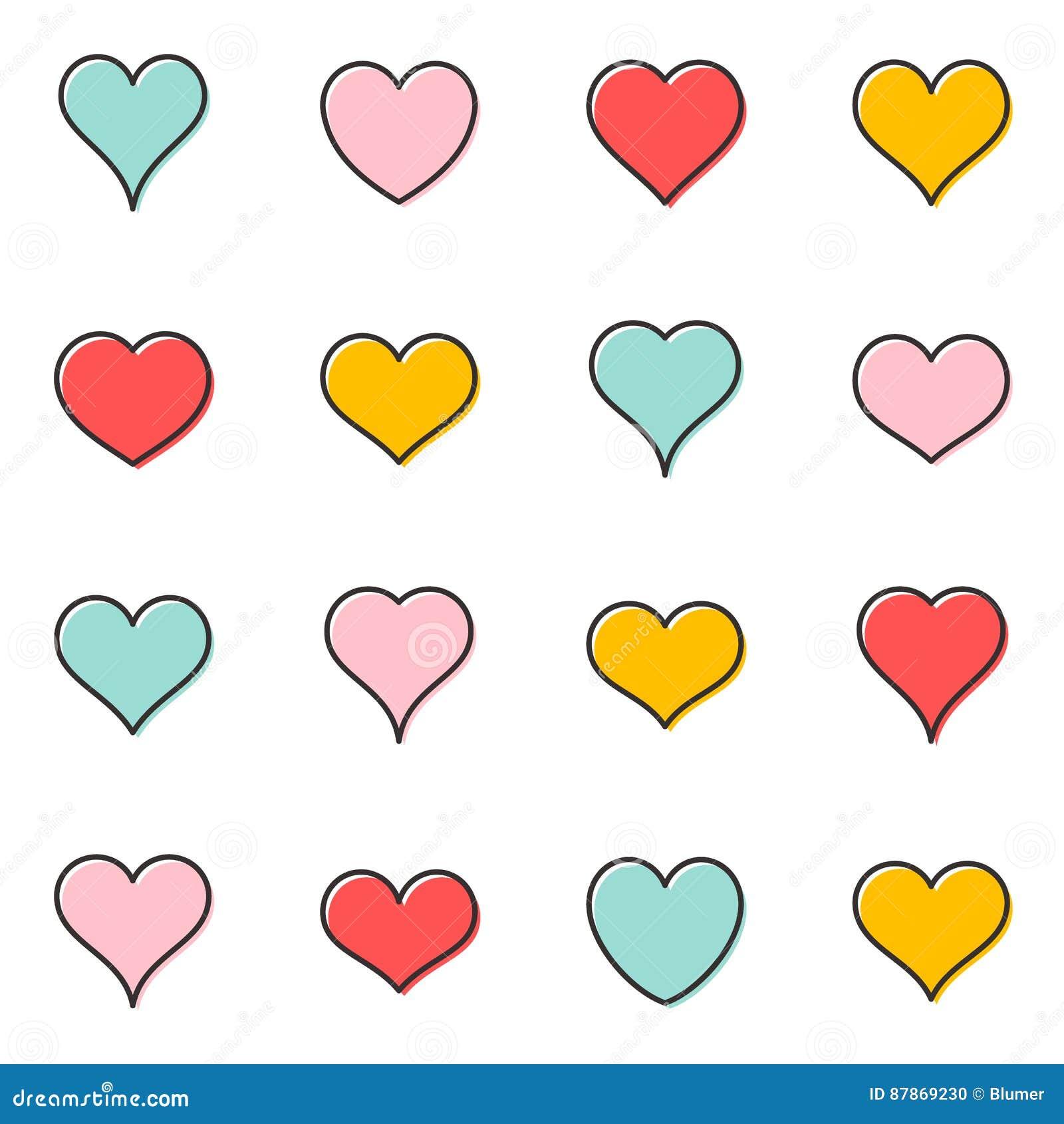 Простые значки плана сердца вектора