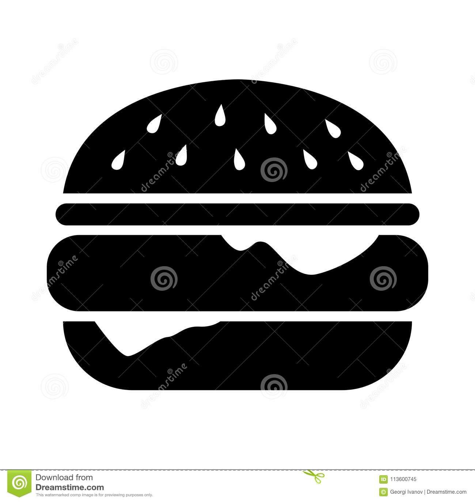 Простые, плоские, черные иллюстрация силуэта бургера/значок Изолировано на белизне