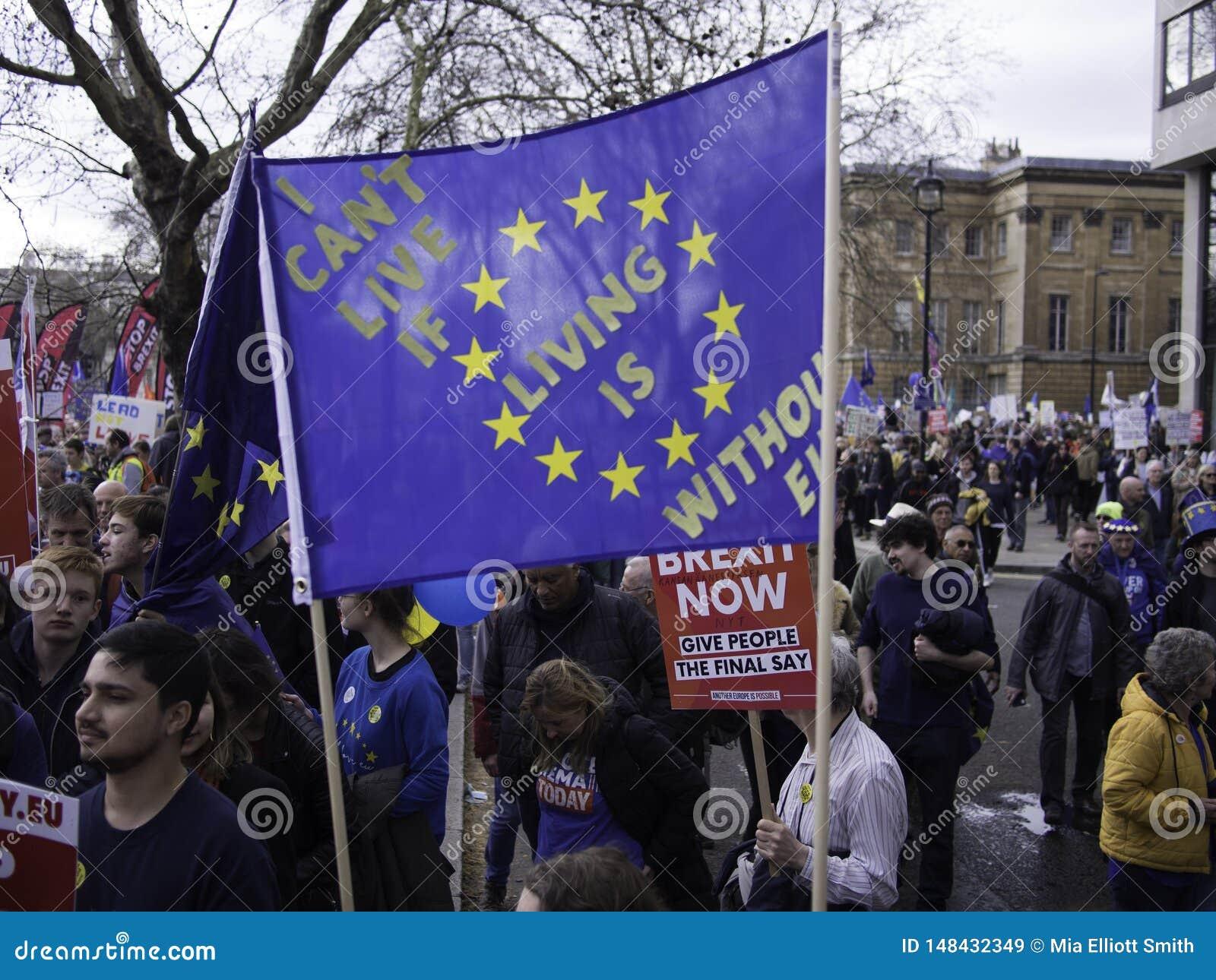 Протестующие во время анти- демонстрации Brexit, Лондон, март 2019