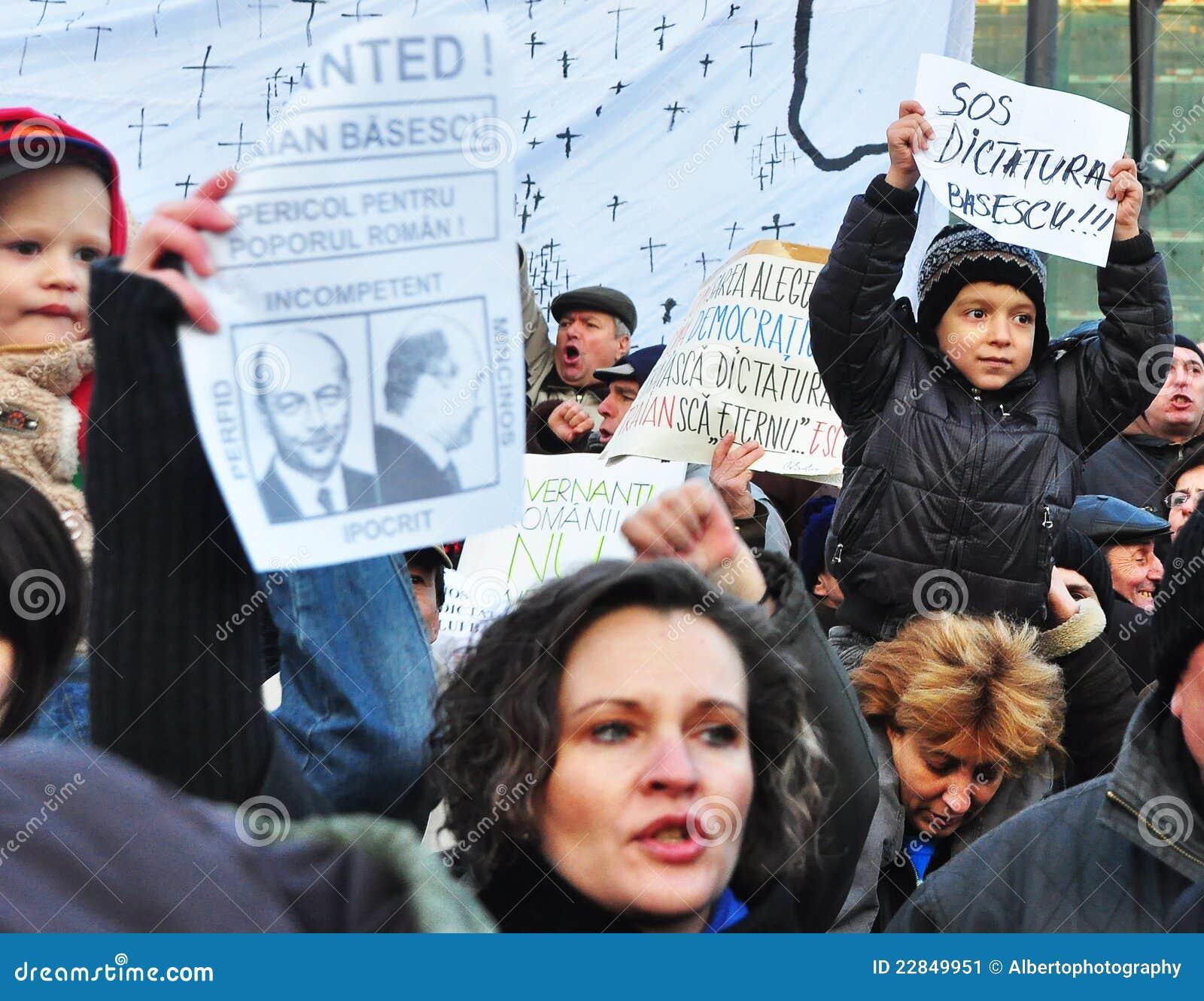 Протест Бухарест - квадрат 7 университета