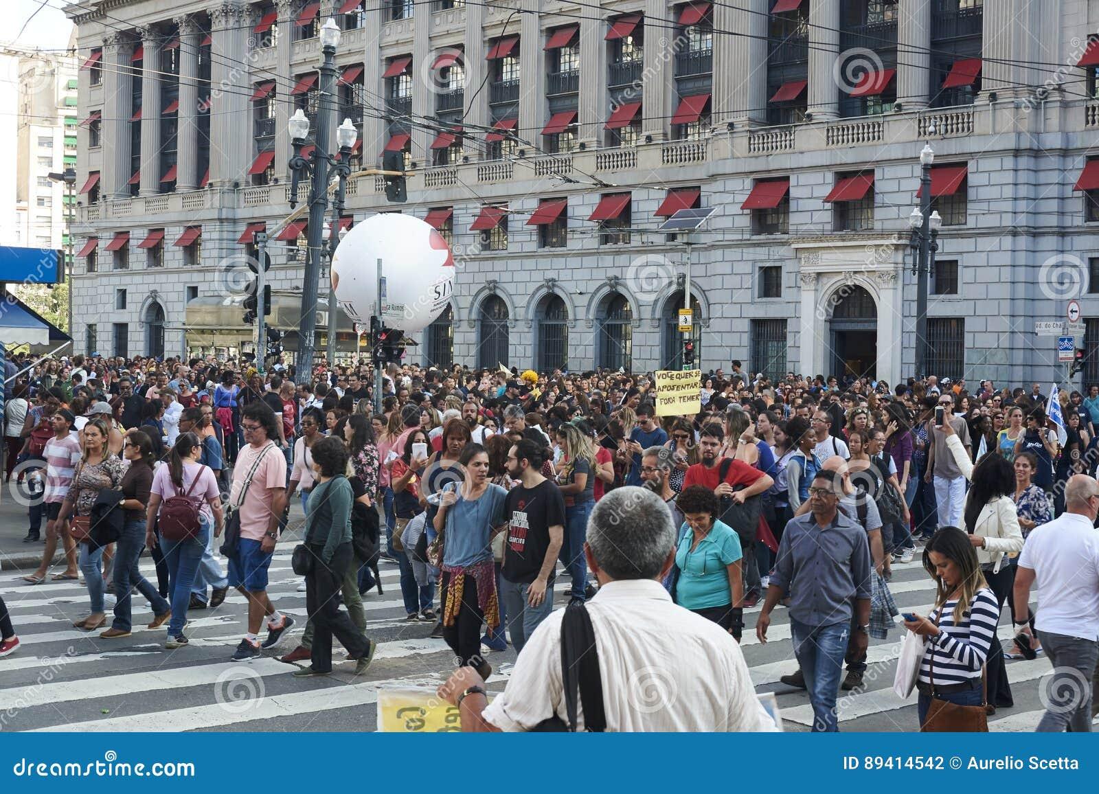 Протест учителей против реформы социального обеспечения sao Бразилии paulo