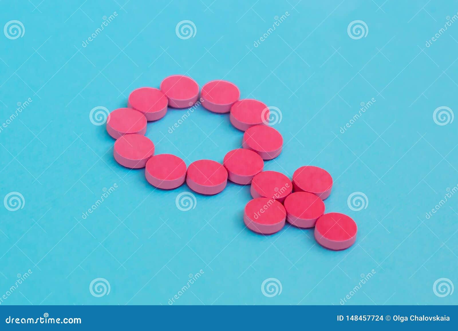 Противозачаточные таблетки как символ рода на голубой предпосылке Женская терапия инкрети