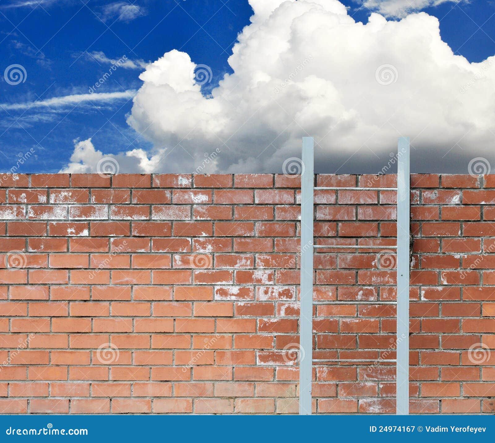 против голубой стены неба трапа