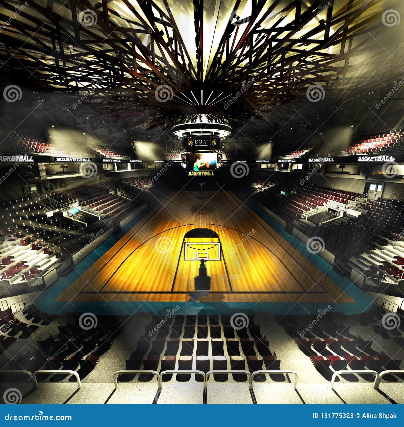 Профессиональная арена баскетбольной площадки в иллюстрации светов 3d