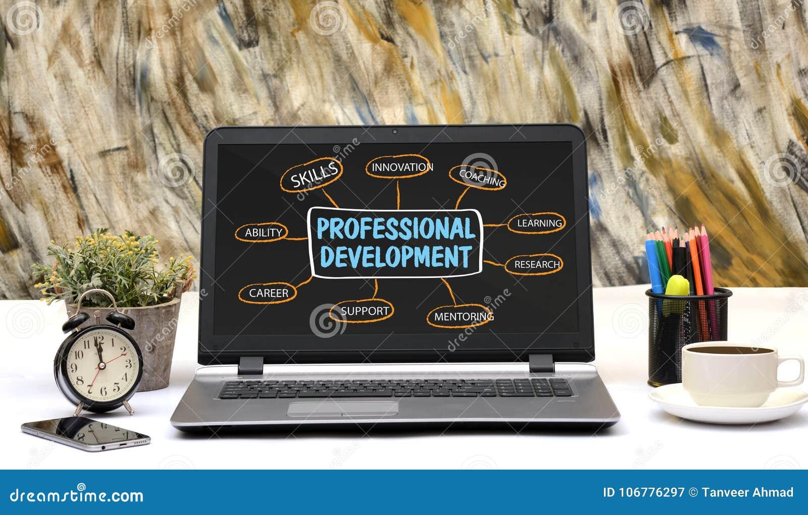 Профессиональный чертеж диаграммы развития на экране компьтер-книжки офиса