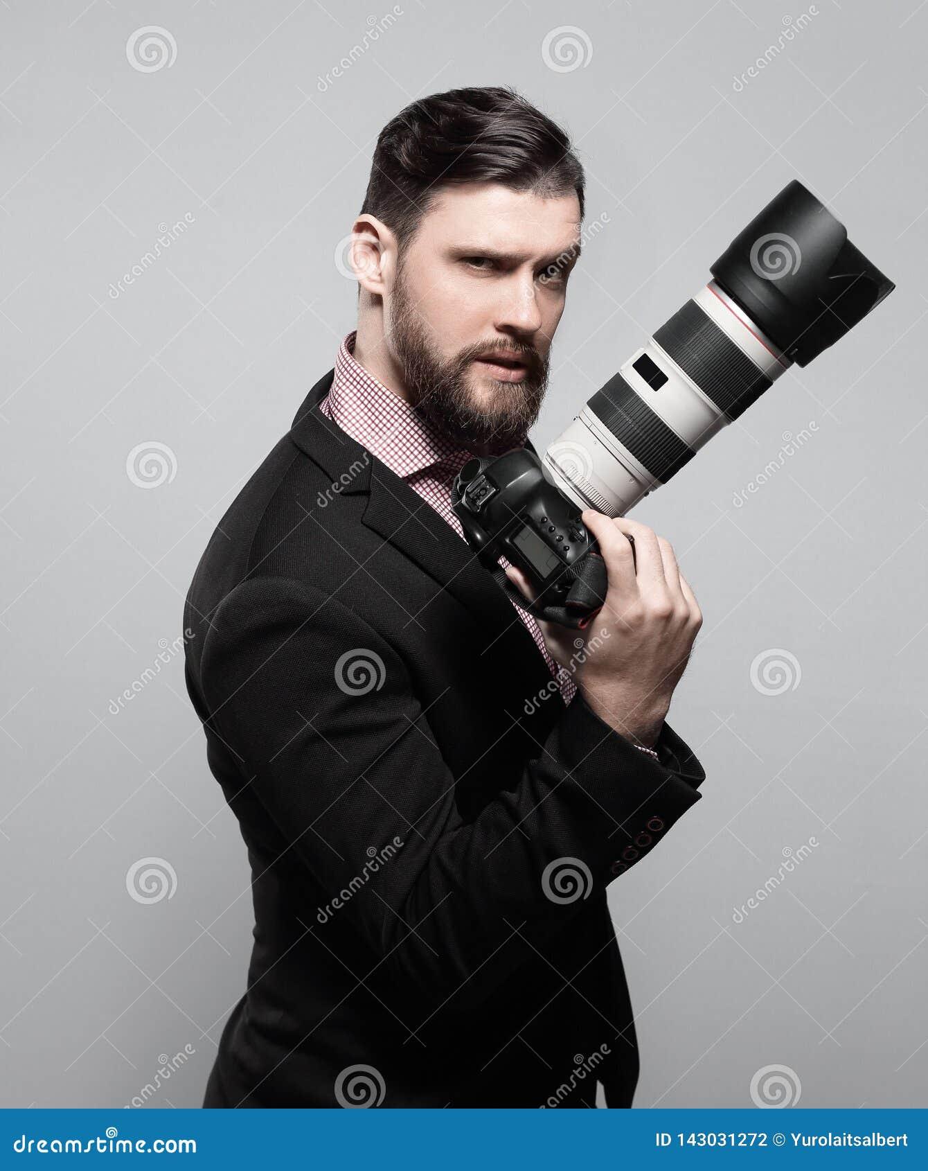 профессионал фотографа камеры цифровой Фото с космосом экземпляра