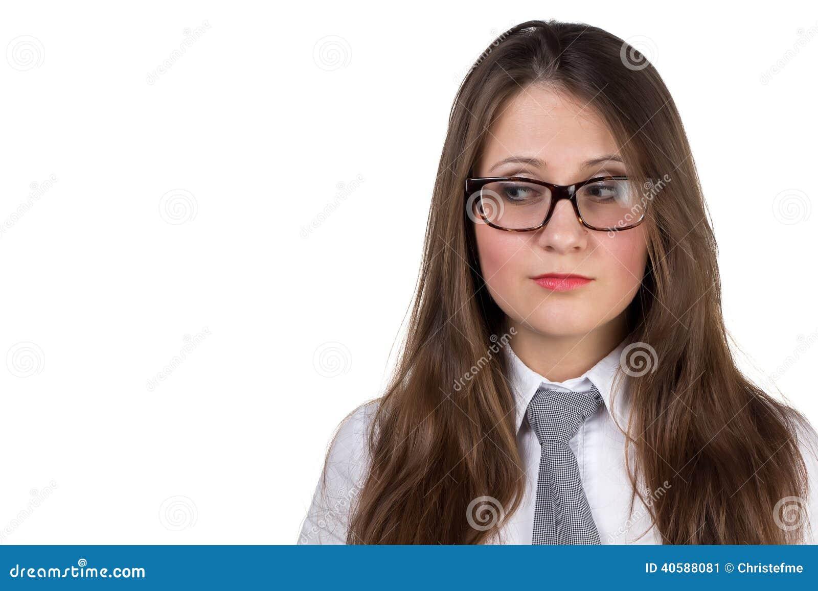 Профиль удивленной женщины в eyeglasses