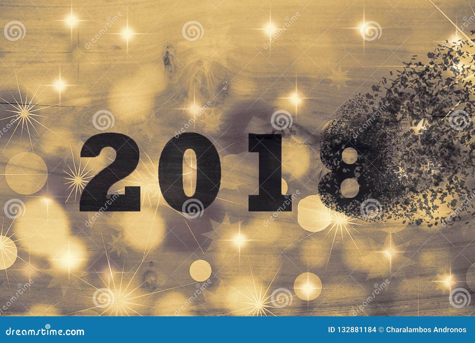 2018 проходит прочь для того чтобы приветствовать Новый Год 2019 2018 ломает в части рассредоточенное действие