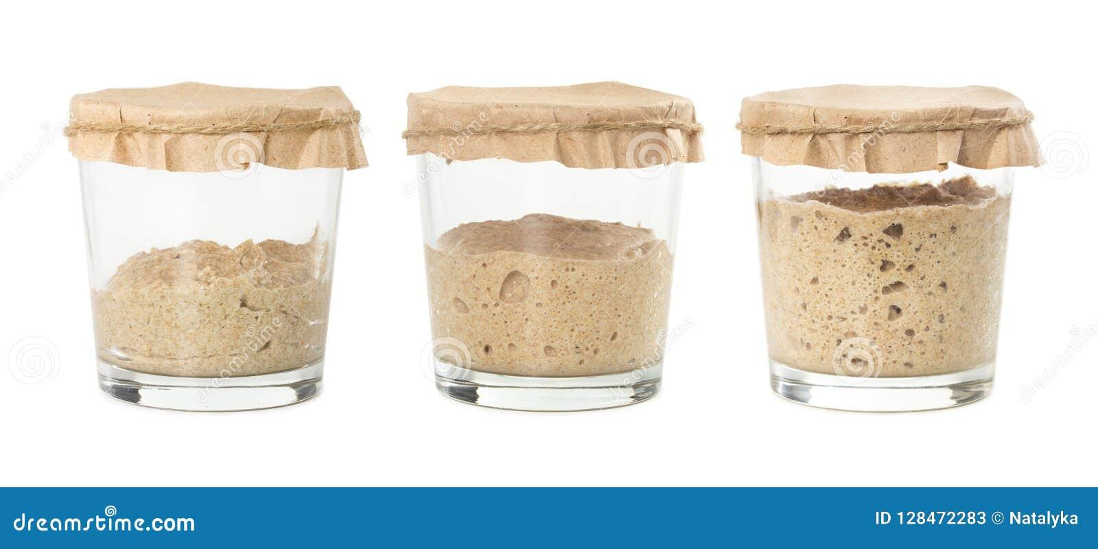 Процесс заквашивания домодельного изолированного sourdough хлеба рож