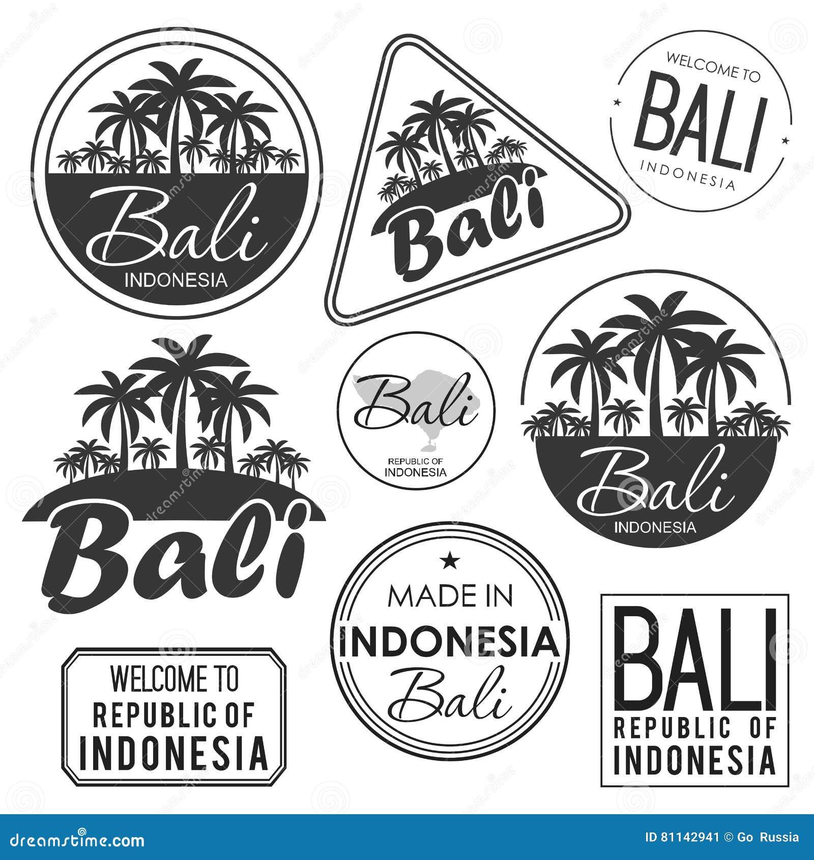 Проштемпелюйте или ярлык с именем острова Бали, иллюстрации вектора