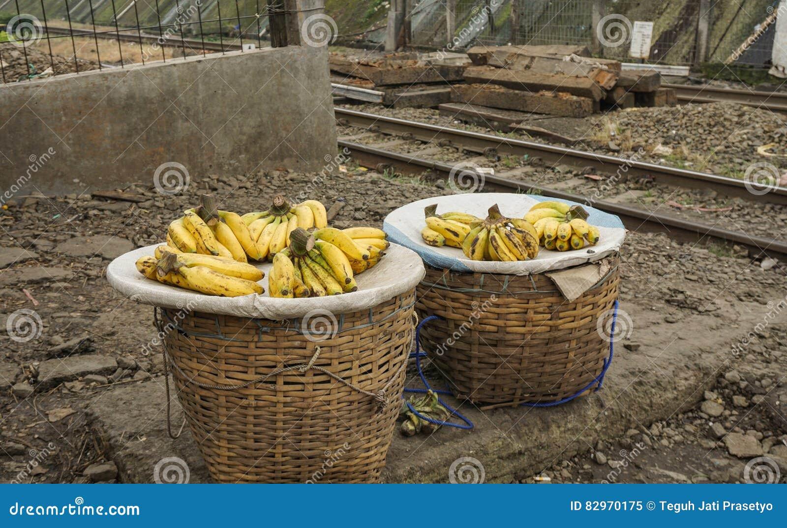 Продающ банан как фото тропического плодоовощ ` s Индонезии любимое принятое в Bogor