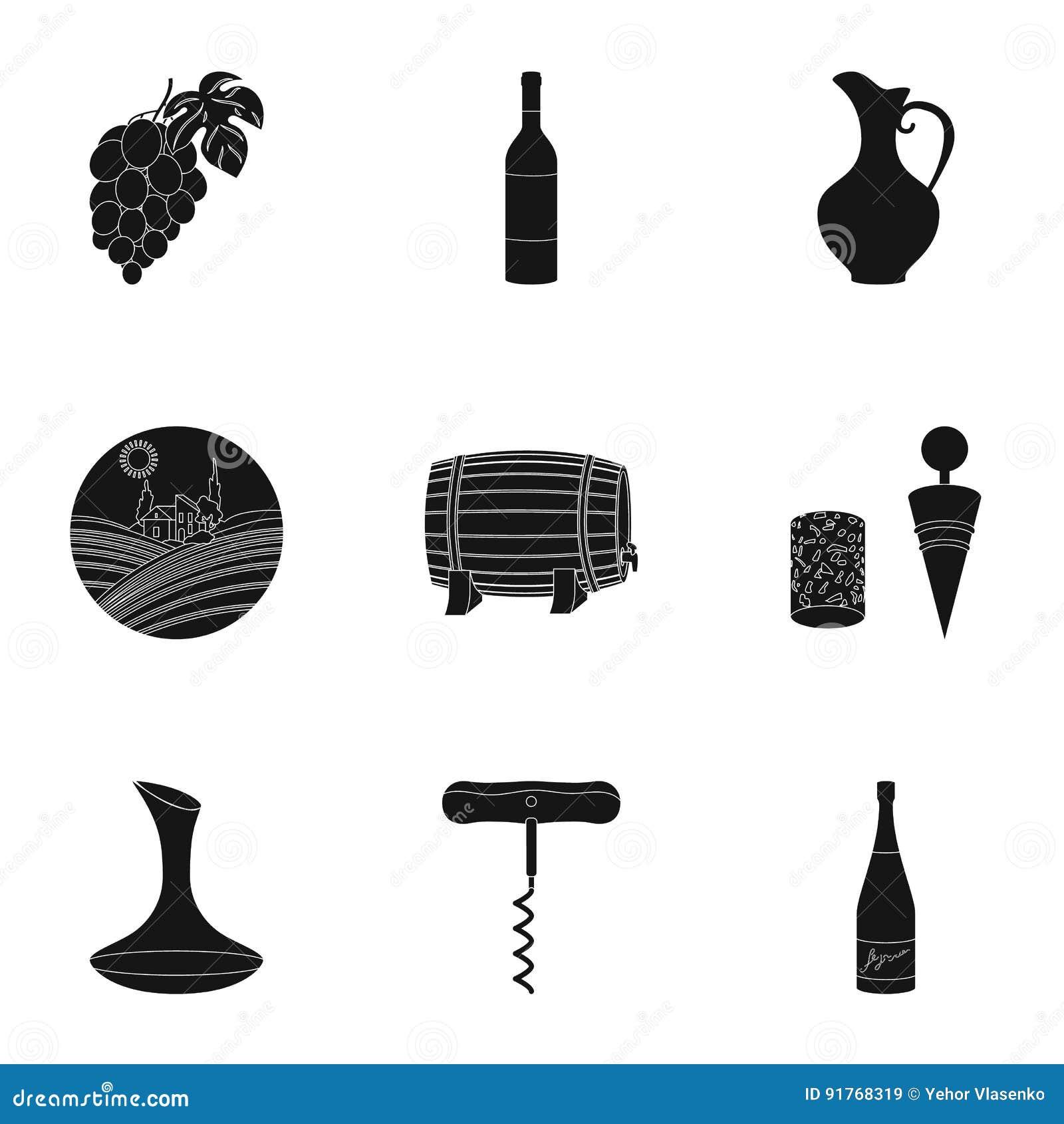Продукты вина Растущие виноградины, вино Значок продукции лозы в собрании комплекта на черном запасе символа вектора стиля