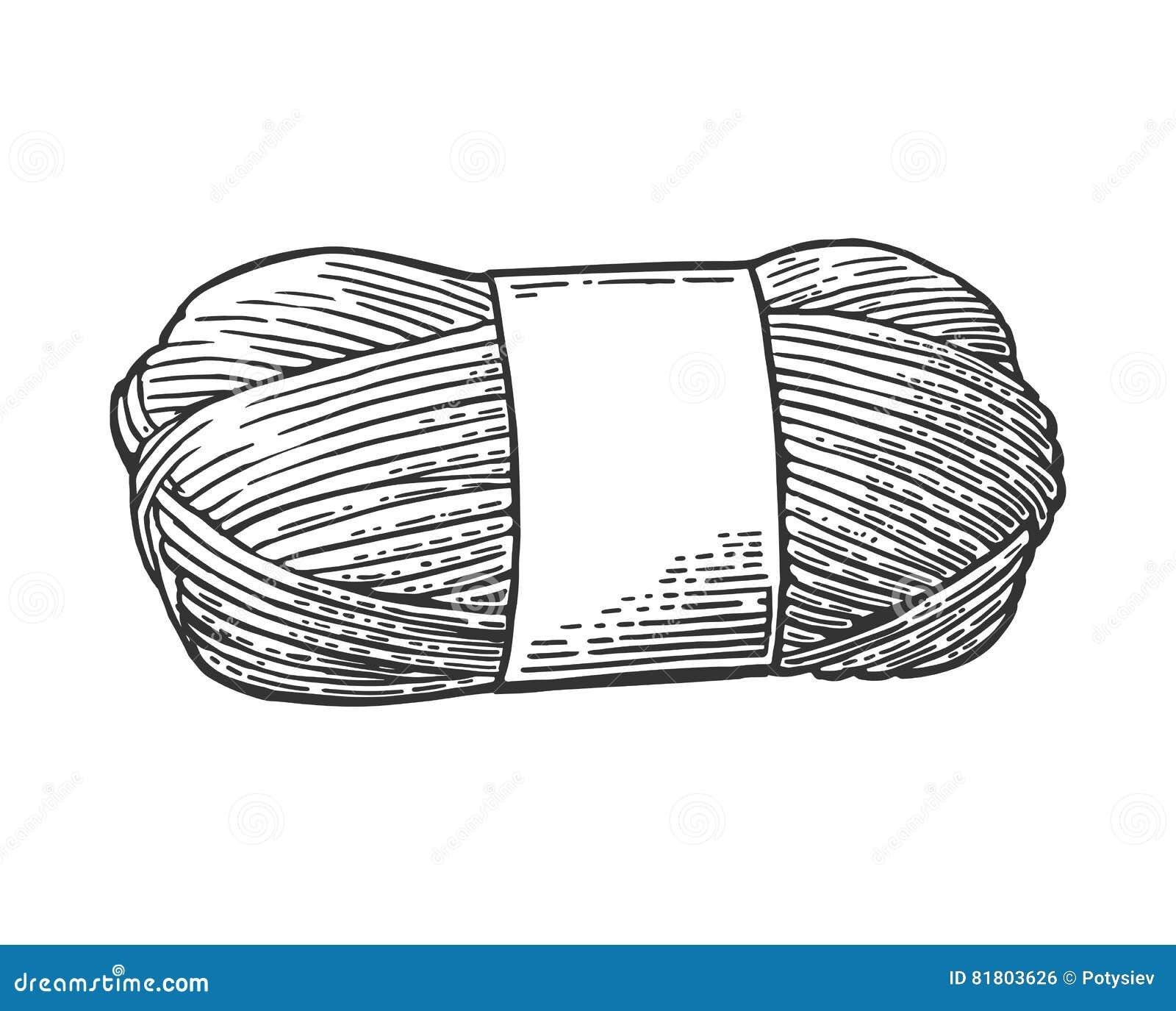 Пряжа крена с шерстяным потоком для вязать Винтажная иллюстрация гравировки
