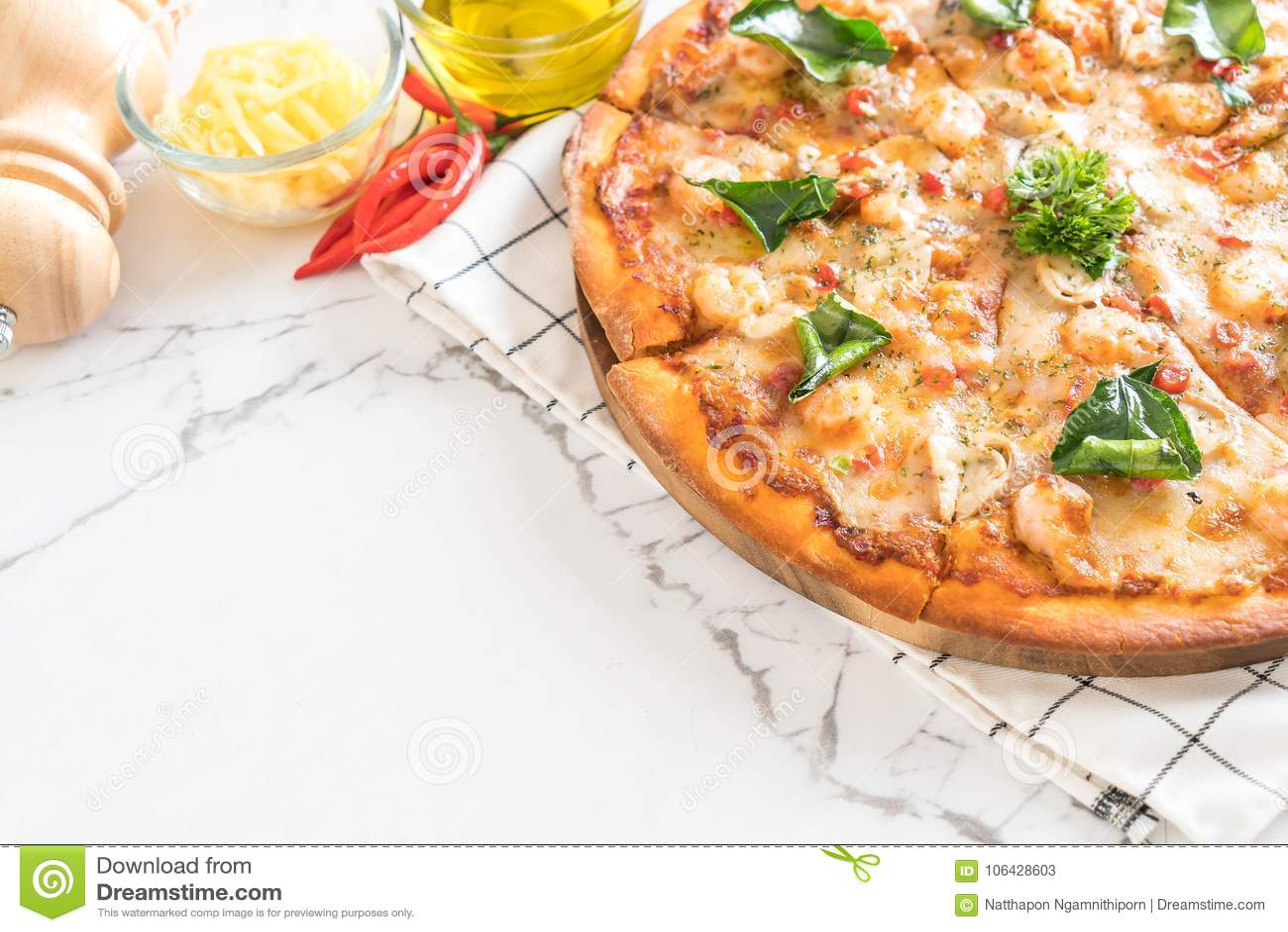 пряная пицца креветки (Тома Yum)
