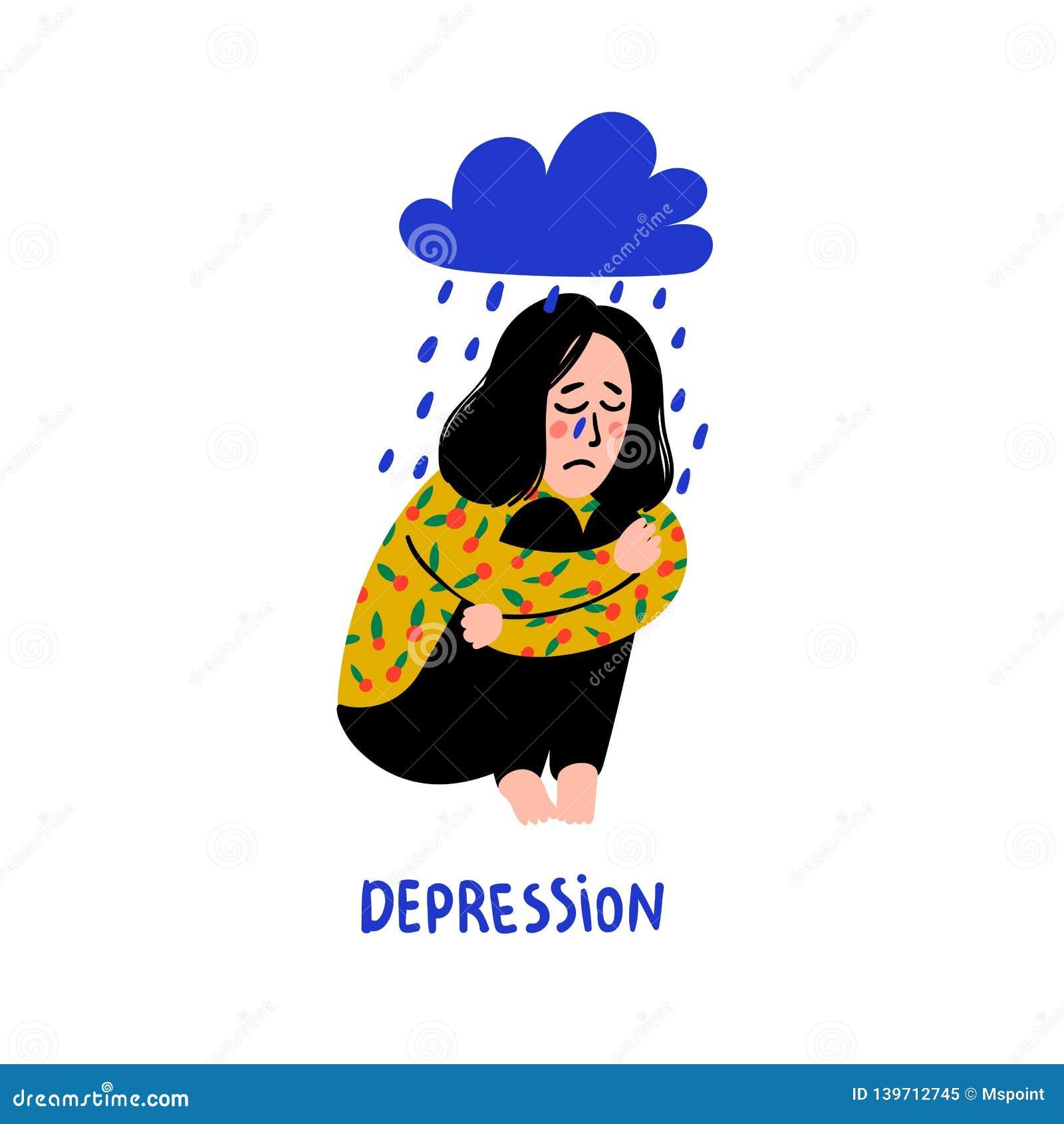 психология Депрессия Грустная, несчастная девушка, сидя под дождевым облаком Молодая женщина в депрессии обнимая ее колени и