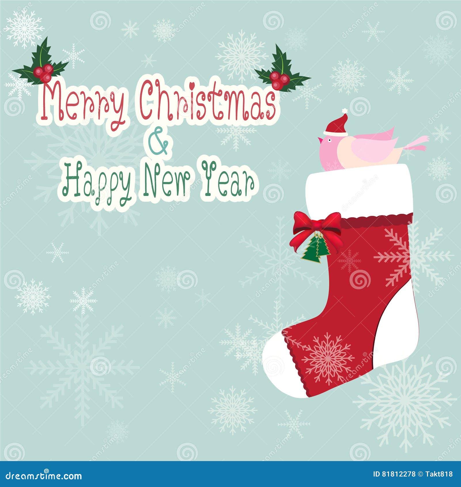 Птица на носке рождества с красной иллюстрацией смычка