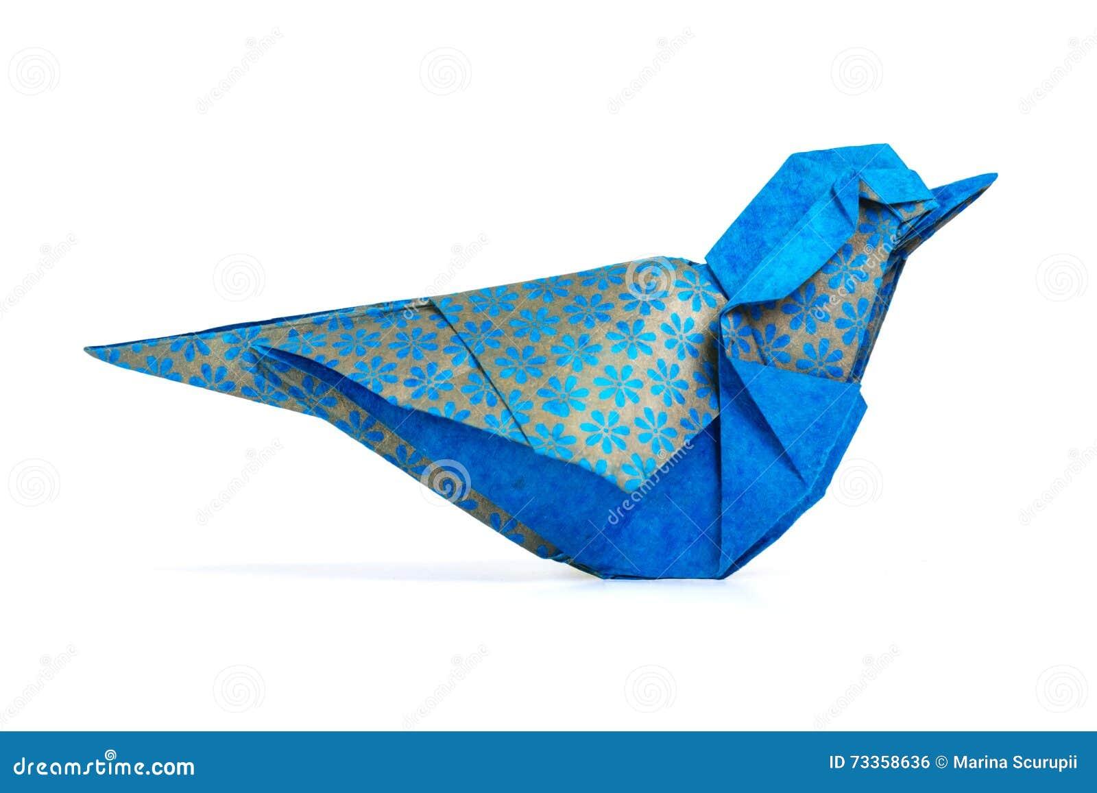 Птица сини Origami