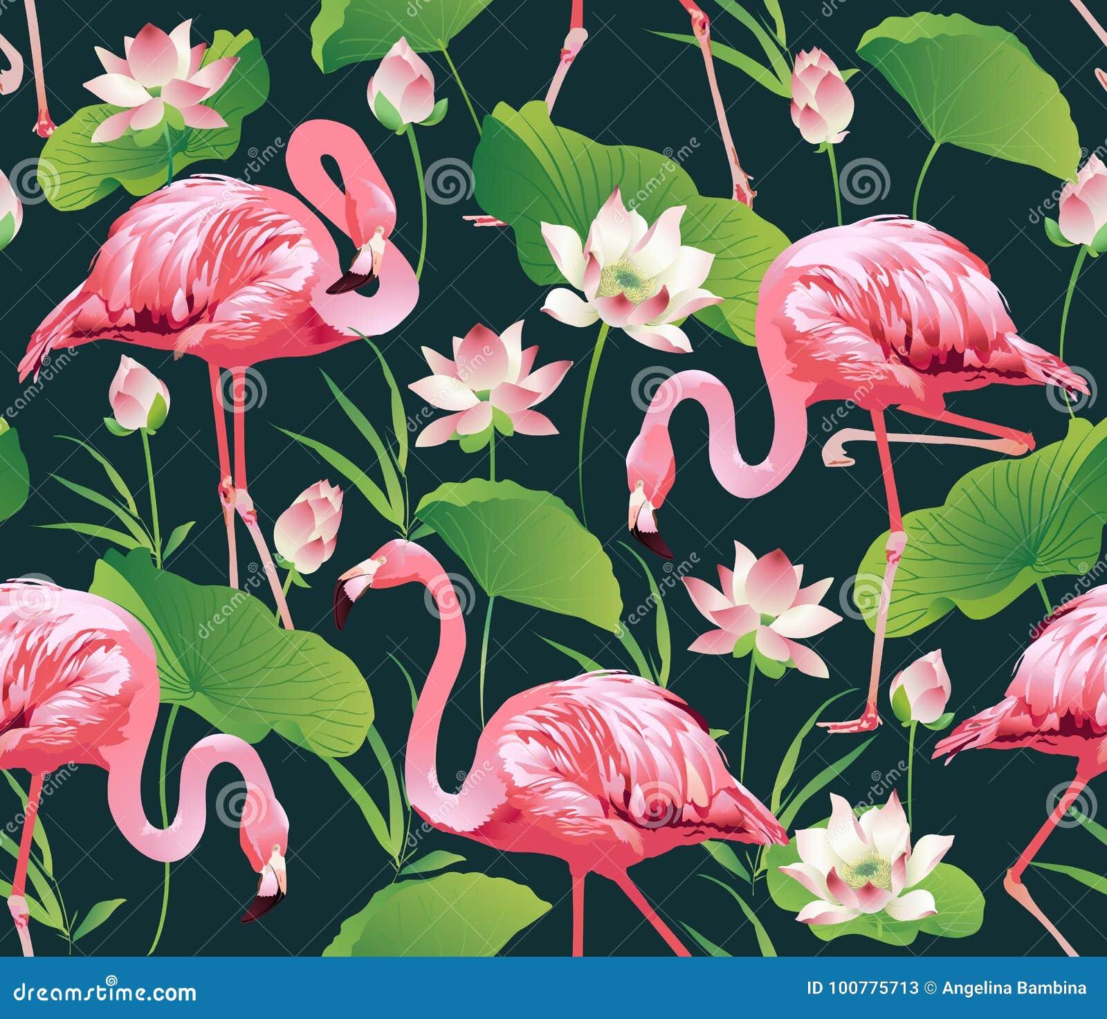Птица фламинго и тропическая предпосылка цветков лотоса - безшовная картина