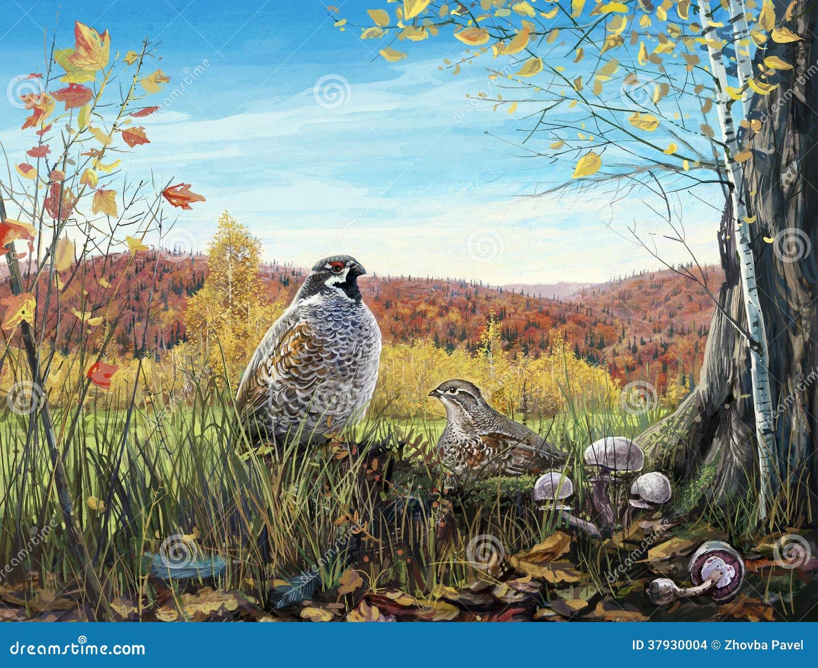 2 птицы в древесинах осени