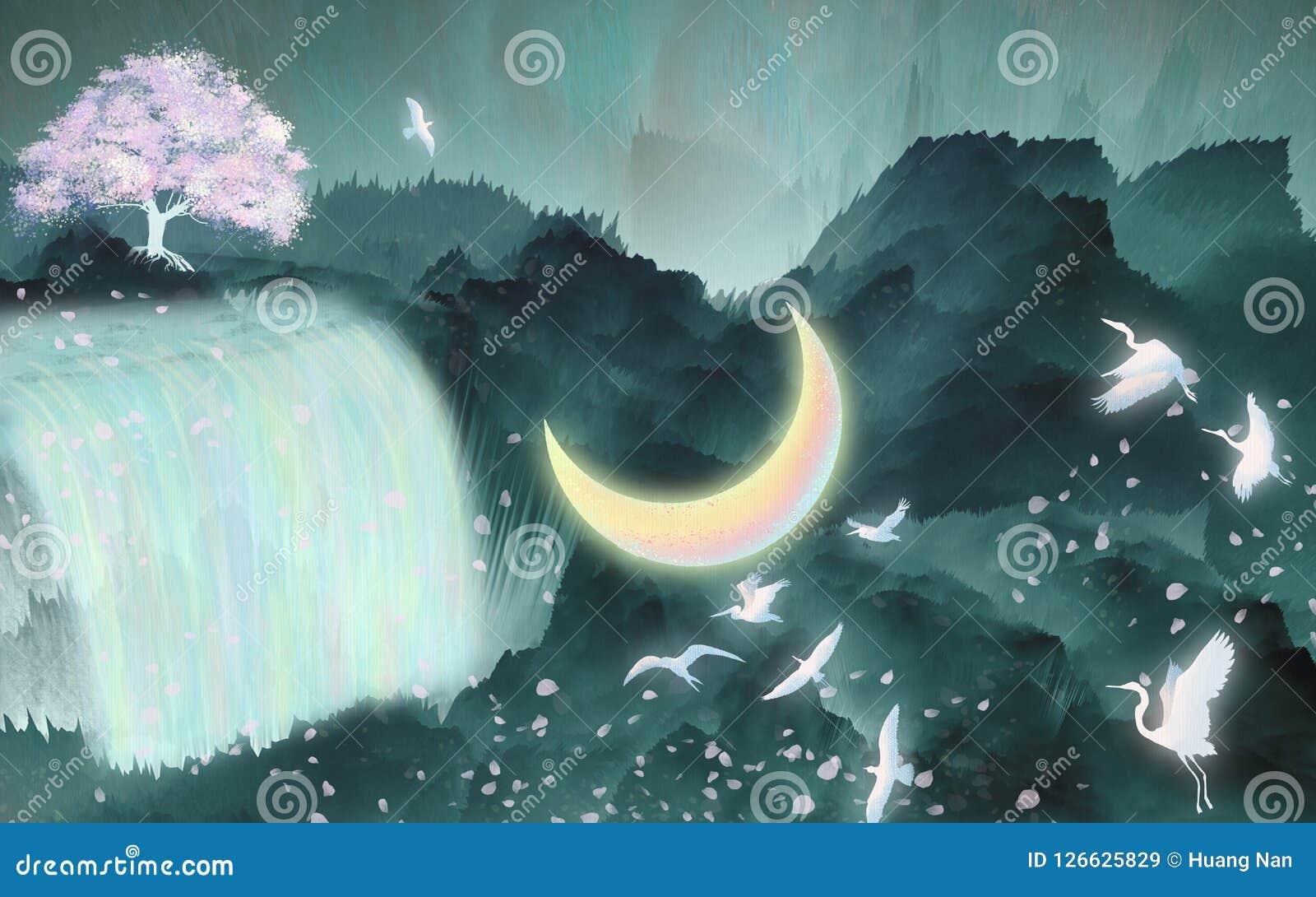 Птицы летают под пакет иллюстрации реки луны