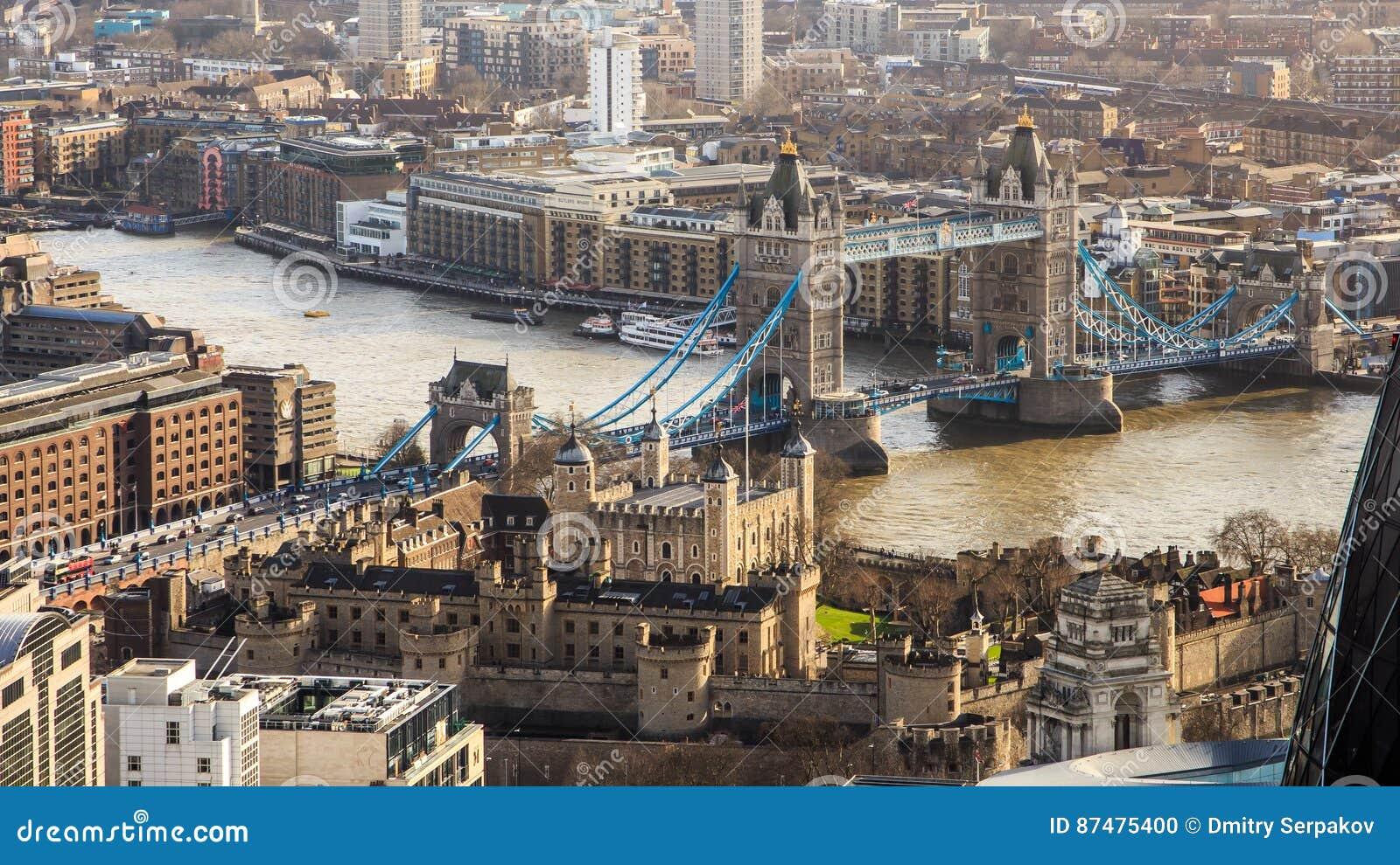 Птицы наблюдают veiw на мосте башни и река Темза в Лондоне