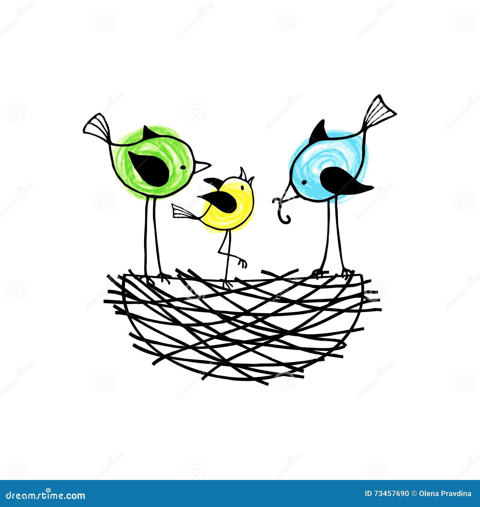 Птицы семьи в гнезде, родители подают их птенеец