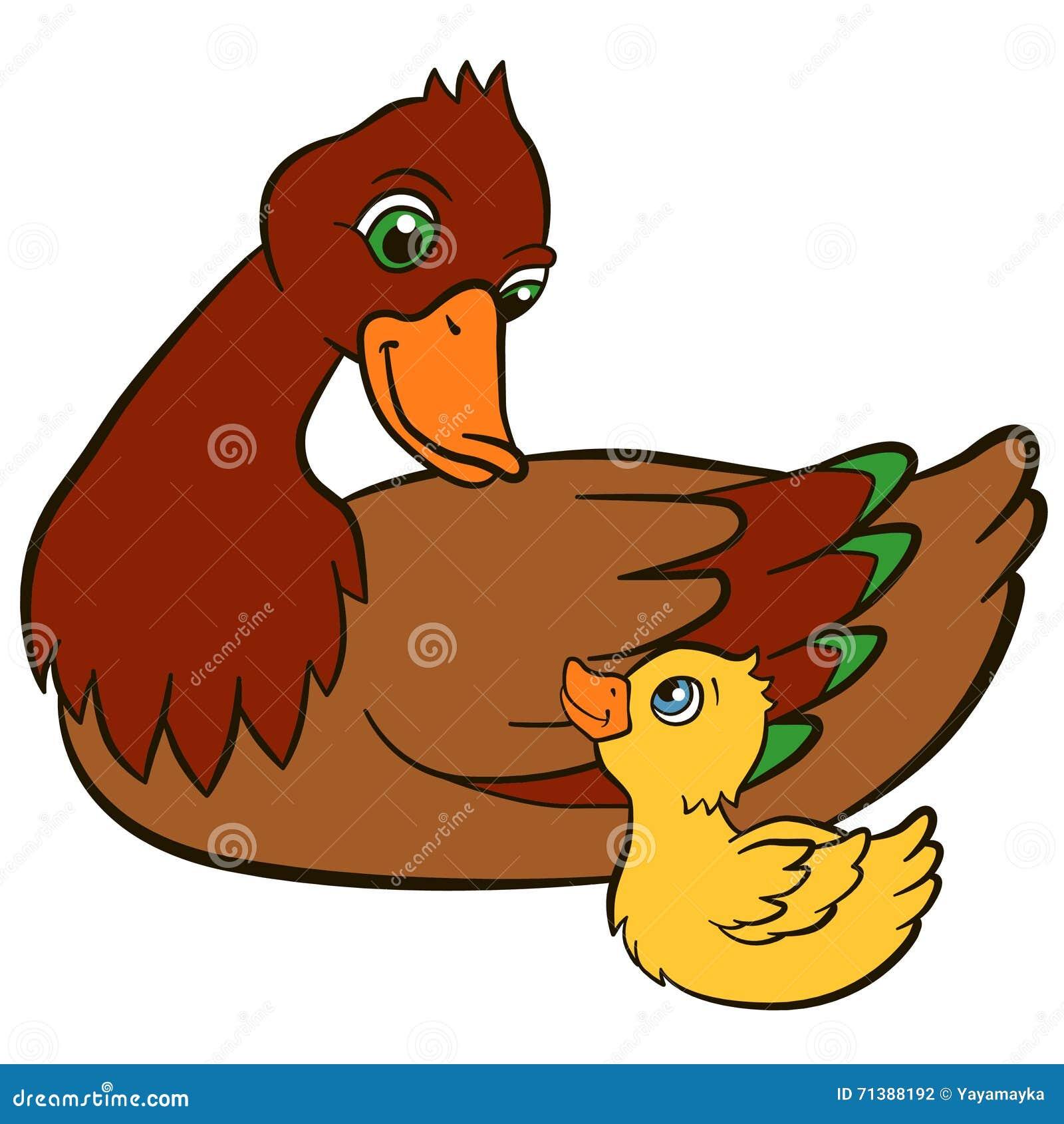 Птицы шаржа для детей Утка матери с ее милым утенком ...